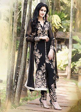 Black Georgette Straight Suit