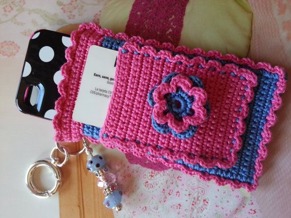 """Blue and Pink Dolled Up """"Bloomer"""" Crochet Case with Beaded Keychain for iPhone, Camera, Smart Phone, MP3 Player"""