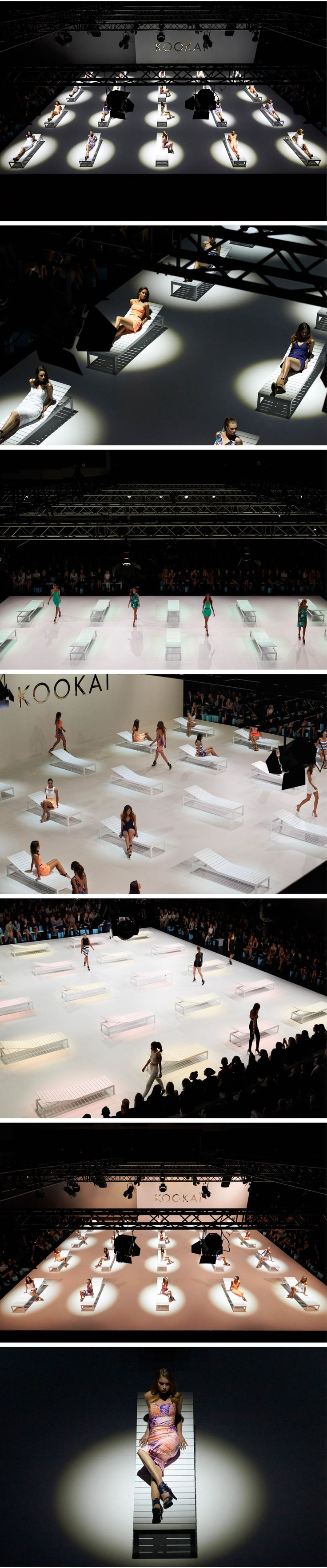This photo set from the Kookai Fashion Show (taken during London Fashion Week) is a particularly good example of location photography as the staging and lighting is not in control of the photographer. It also shows the difficulty that location photography presents as the various models that are onstage get up and move across the stage, meaning that the photographer would have to use a higher shutter speed in order to capture the movements without making the models blurred.