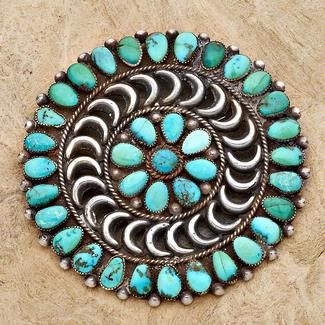 $2,100.00      Manta Pin in Turquoise and Sterling Silver
