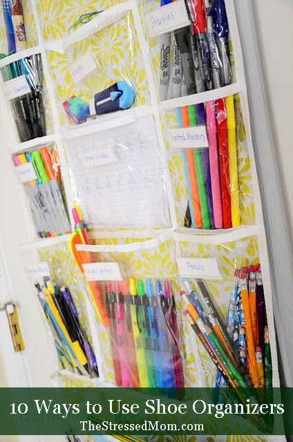Using shoe organizers to corral your stuff -- TheStressedMom.com.  1. This picture below was found on Pinterest and linked to A Bowl Full of Lemons, but I cannot find the original post. Looks like she is using her organizer for all kids of writing utensils, as well as study guides, so this could be for a home-school family.: