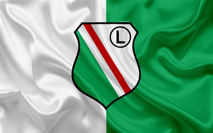Download wallpapers Legia Warsaw FC, 4k, Polish football club, logo, Legia emblem, Ekstraklasa, Polish football championship, silk flag, Warsaw, Poland