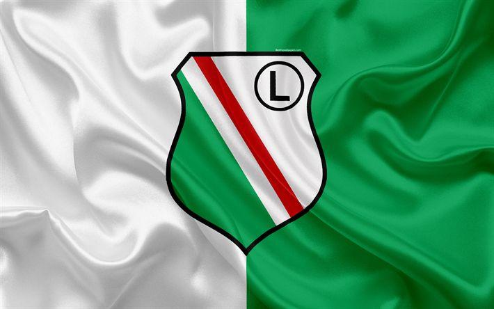 Download wallpapers Legia Warsaw FC, 4k, Polish football club, logo, Legia emblem, Ekstraklasa, Polish football championship, silk flag, Warsaw, Poland