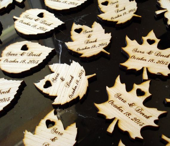 Wood Leaf Wedding Favors Personalized Set of 90 by EtchedinTimeLLC, $54.00 Can ship to states when mom goes before wedding. @Nicole Emery