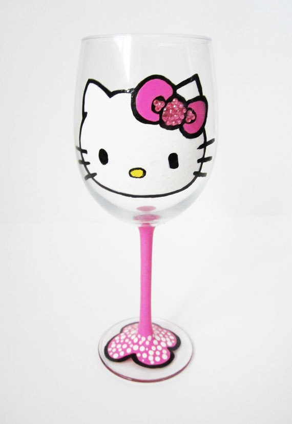 Hand painted wine glass $20 on etsy