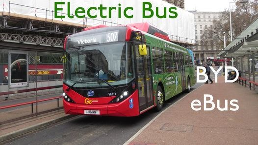 #ElectricBus #ElectricVehicle London Buses Route 507 Operated by Go Ahead London General from (RA) Waterloo garage BYD D9UR Enviro200 MMC EV SEe11 LJ16NNT Filmed on 8th December 2016