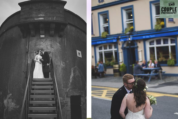 The newlyweds climb up to the Martello Tower, and down the hill by the tavern. Wedding in The Abbey Tavern, Howth. Photographed by Couple Photography.