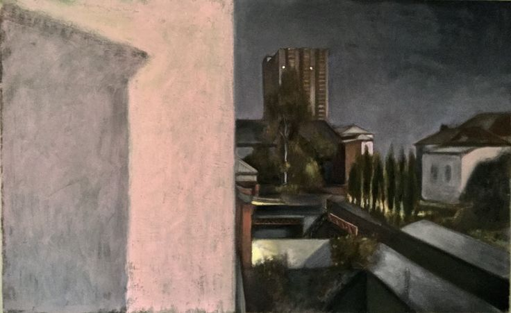 Night Landscape, Cecil Street, South Melbourne  Oil on Canvas. By Andrew McLean.