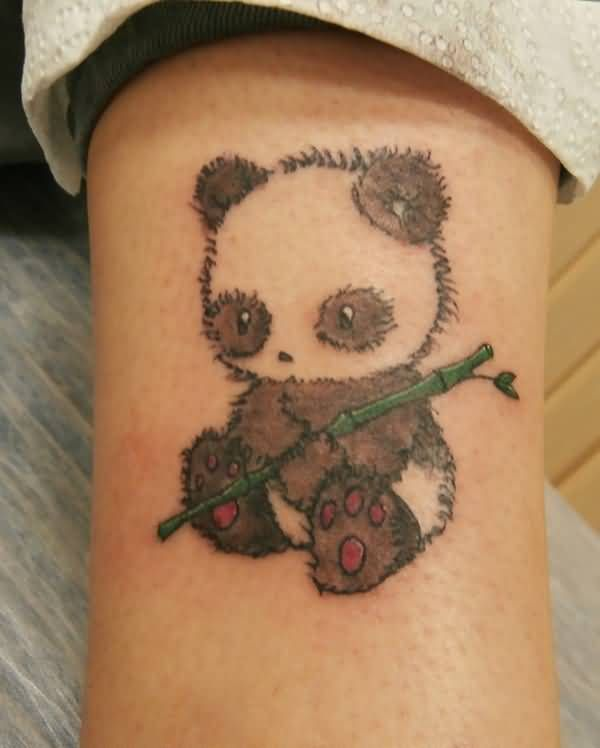 Cute Baby Panda Holding Bamboo Tattoo On Half Sleeve Tattoos Artsy