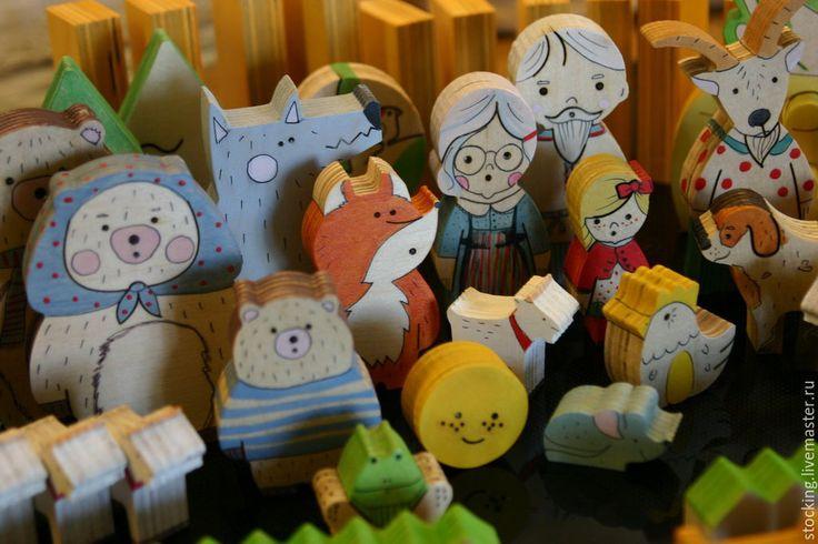 Купить Набор Наши сказки. - разноцветный, Сказки, игрушки из дерева, игрушки для малышей, развитие речи