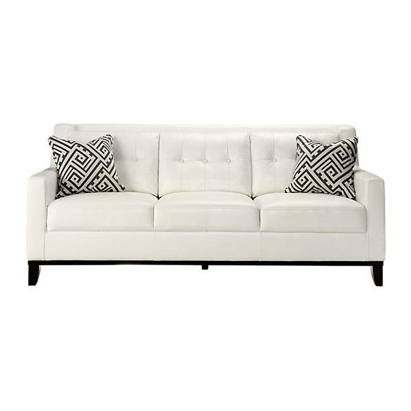 White Leather Sofa more views Reina White Leather Sofa 55875 Rub Liked On Polyvore Featuring Home Furniture