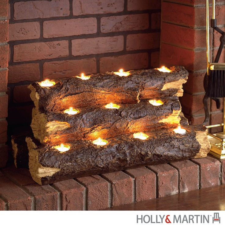 Holly & Martin Sierra Tealight Fireplace Log - Harvey & Haley