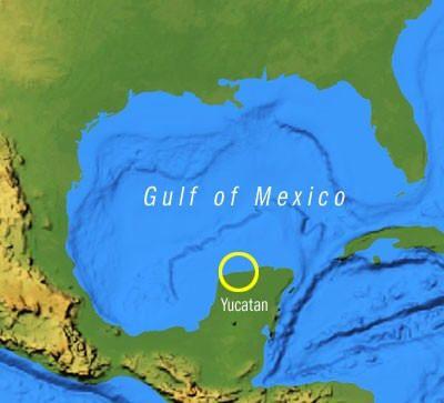 Chicxulub crater, Yucatan Peninsula in the Gulf of Mexico ...