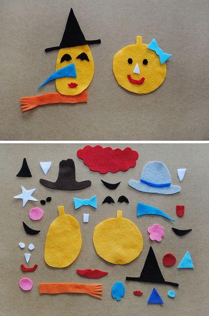MerMagFeltPumpkinFaces1 by mer mag, via Flickr