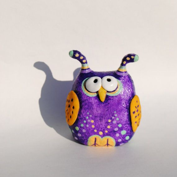 Owl figurine  paper mache owl sculpture  collectible owl