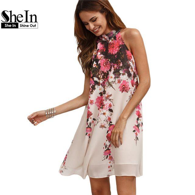 SheIn Verano Vestidos Cortos Casuales Para Mujer Nueva Llegada Multicolor Cuello Redondo Floral Cut Out Vestido de Cambio Sin Mangas