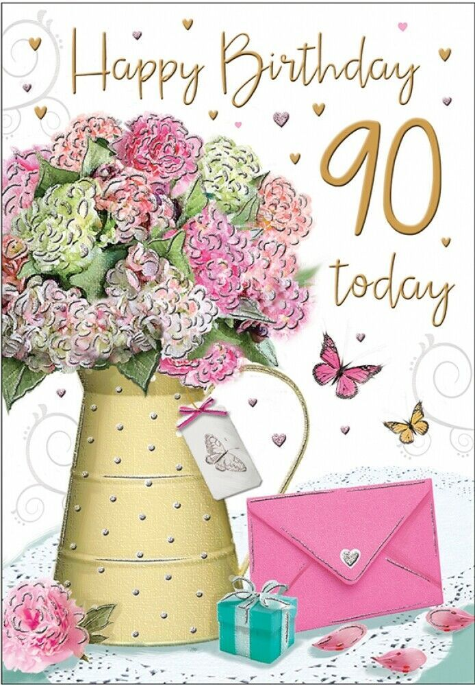 Happy 90th Birthday Card 90 Today Flowers Regal Publishing Regalpublishing Birthday 90th Birthday Cards Happy 90th Birthday Luxury Birthday Cards