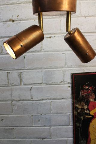 Copper Pipe Double Light Flush Mount. Two beams of adjustable light. Outdoor light - Fat Shack Vintage - Fat Shack Vintage