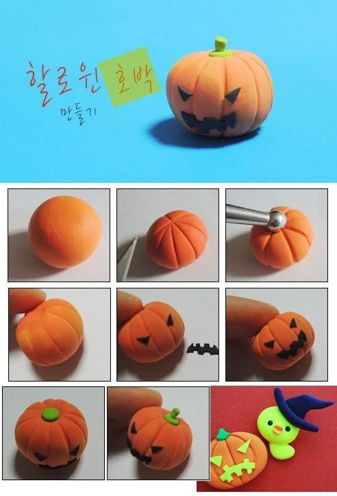 DIY Polymer Clay or Fimo Halloween Pumpkin Tutorial - Fimo, Cernit et accessoires : http://www.creactivites.com/236-pate-polymere