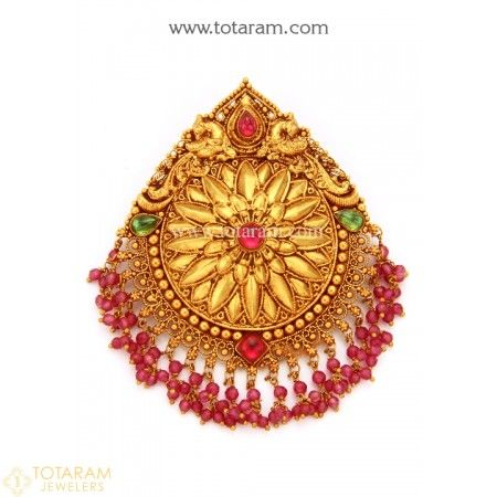 22K Gold 'Peacock' Pendant (Temple Jewellery) - 235-GP2939 - Buy this Latest Indian Gold Jewelry Design in 16.300 Grams for a low price of  $899.20