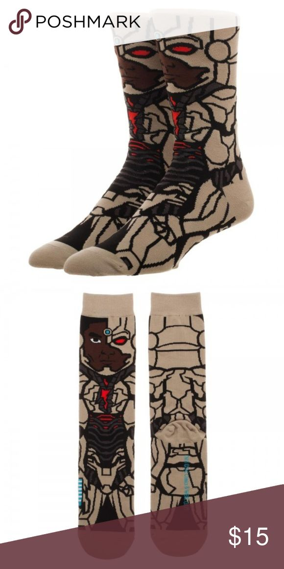 Cyborg 360 Character Crew Socks Justice League DC Officially Licensed Justice League Character Men's Crew Socks!  Character:  Cyborg  Theme:  DC Comics - Officially Licensed Style:  Men's Casual / Crew Socks Sock size:  Adult - One Size Fits Most Material:  98% Polyester, 2% Spandex Brand: Bioworld  Intended for Ages 14 and Up!  CONDITION - New  More DC and JLA in my Posh! Bioworld Underwear & Socks Casual Socks