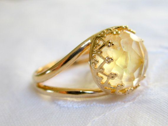 Citrine ring Gemstone ring  Gold ring Vintage by EldorTinaJewelry, $59.00