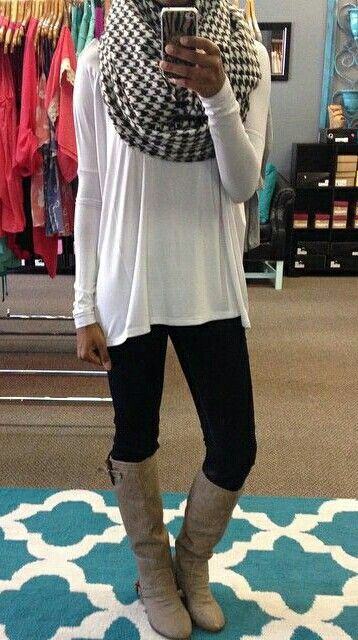 Love the giant scarf with those boots! Have boots, scarf and leggings.