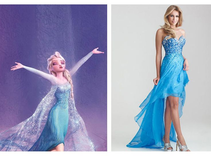 WWEW: What Would Elsa Wear? The fierce Snow Queen would rock a blue sequins and a peek-a-boo hemline like this sparkly high-low dress. Night Moves Sparkly Sequined Strapless High Low Prom Dress, $378, missesdressy.com