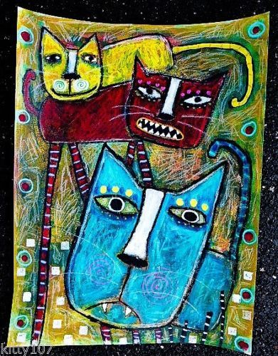 Tracey Ann Finley Original Outsider Folk Collage Painting Red Yellow Blue CATS now available!