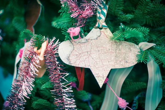 DIY Paper + Mod Podge Ornaments by Handmade Charlotte for Balsam Hill: Diy Mod, Paper Maps, Maps Ornaments, Mod Podge, 5 Diy Christmas Tre, Crafts Features, Diy Ornaments, Christmas Trees, Diy Paper