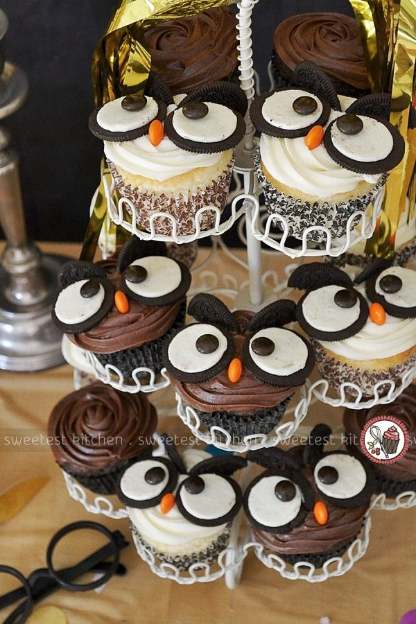 A Harry Potter Birthday Party - just look at these adorable owl cupcakes!