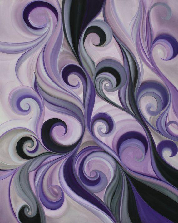 Botanical oil paintingpurple wall by HVaughtARTStudio on Etsy