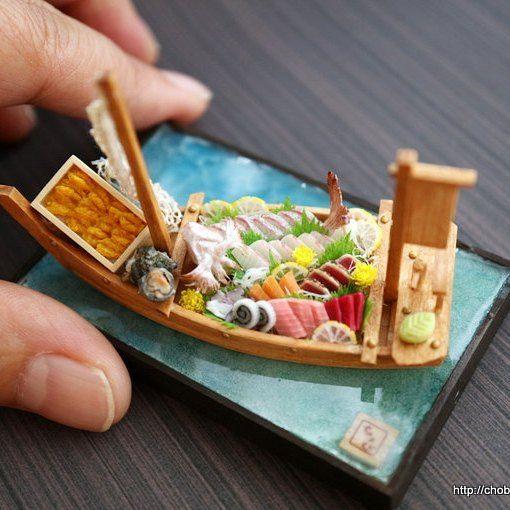 ミニチュア舟盛り、完成でーす。 ヤフオクに出品中です。 #ミニチュア#ミニチュアフード#舟盛り #miniature#miniaturefood