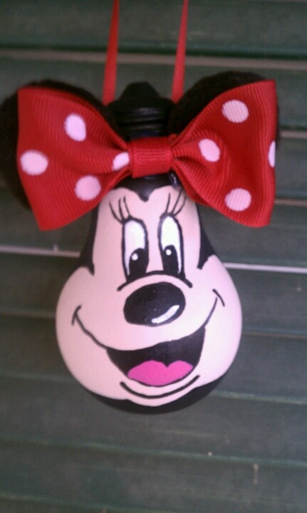 Minnie Mouse ornament made from recycled Light bulb