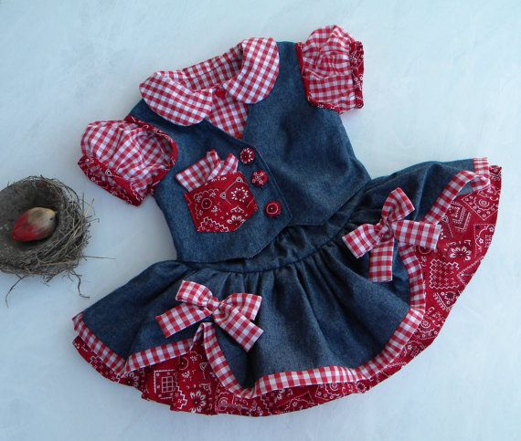 Denim Cowgirl Dress, 3 piece Twirl Skirt-Top-Vest Pageant-Party Set, Made to Order, NOW Available in PINK, too on Etsy, $169.00