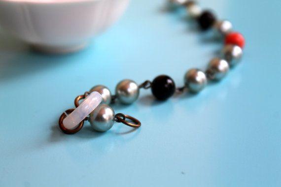 Art Deco Blue Pearl Link Bracelet Vintage by comeandplaybetsymay