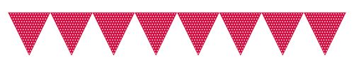 Red Paper Polka Dots Party Flag Banners