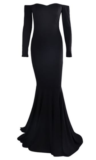 Dramatic Moment Black Long Sleeve Off The Shoulder Mermaid Maxi Dress