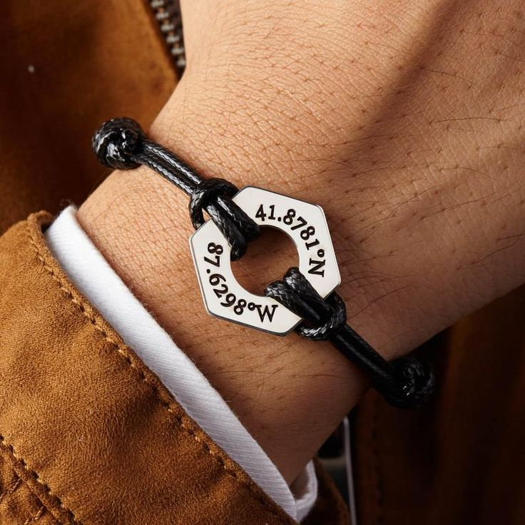Washer Bracelet For Men, Graduation Bracelet For Him, Leather Bracelet Boyfriend Personalized, Gift For Him Personalized, Going Away Gifts