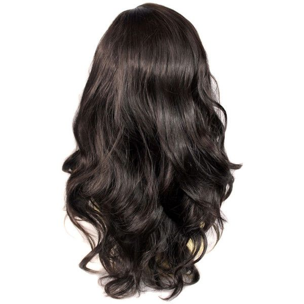 Wonderful wavy Long dark Brown Curly Heat Resistant Ladies Wigs Hair... (1,945 INR) ❤ liked on Polyvore featuring beauty products, haircare, hair styling tools, hair, hair styles, hairstyles, makeup and curly hair care