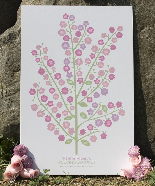 Small Fingerprint Live Oak Tree Wedding Guest Book Hand Drawn: Wedding Bouquet/Guest Book