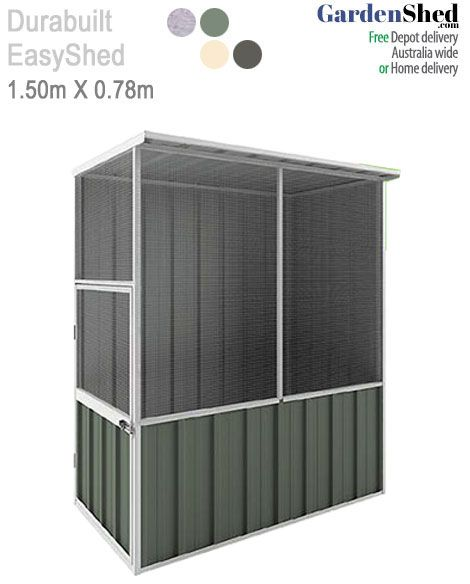 This EasySHED Aviary bird cage by Durabuilt measures 1.5m x 0.75m and comes with thick mesh that is tough.