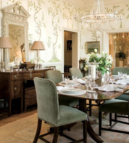 Hand Painted Climbing Vines Ascend The Walls In This Beautiful Dining Room By Phoebe Howard Gorgeous Crystal Chandelier Adds Sparkle Without Blocking