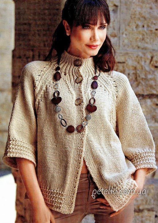 Стильный жакет спицами. Описание вязания, выкройка ............. FREE pattern here ... http://www.tejidogratis.com/38-tejido-para-mujeres-agujas/chaqueta/332-chaqueta-de-manga-raglan.html