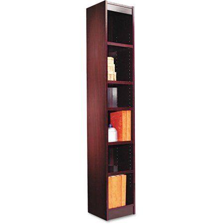 Alera Narrow Profile 6-Shelf Bookcase, Wood Veneer, 12w x 12d x 72h