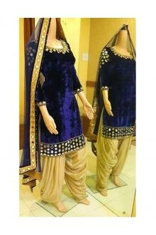 Nice Blue Velvet Semi Stitch Designer Salwar Suit