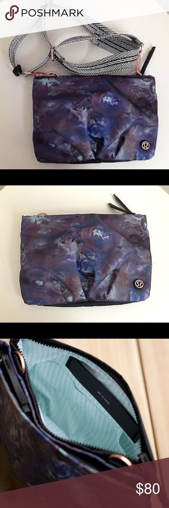 🦄✨Lululemon Hip To Be Free✨🦄 AMAZING lulu purse/ fanny pack. Was tested to carry up to 20 pounds. Moody Mirage is a very rare print, and it is gorgeous. The bag is NWOT. Purple blue galaxy flowery trippy design. Deep gray and green hints. Should be noted that my bag is very cheap for what it's worth!! Baby blue insides, cute sayings. Multiple pockets. Perfect for traveling.festival large flowers gym bag rose gold copper hardware zippers, adjustable strap that disconnects so versatile cross…