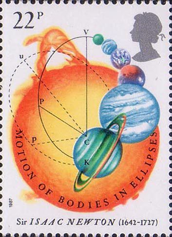 300th Anniversary of The Principia Mathematica by Sir Isaac Newton 22p Stamp (1987) Motion of Bodies in Ellipses