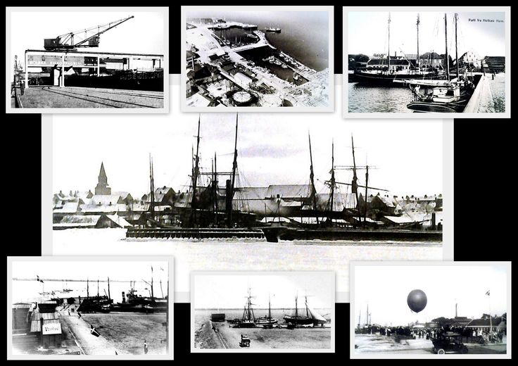 Collage with local history photos from Holbeak - Zealand - Denmark