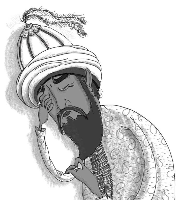 A very worried sultan: From 'The Adventures of Prince Camar and Princess Badoura', Book 1 of the Arabian Nights Adventures series published by Harpendore. Stories retold by Kelley Townley. Illustrations by Anja Gram. Copyright © Harpendore Publishing.
